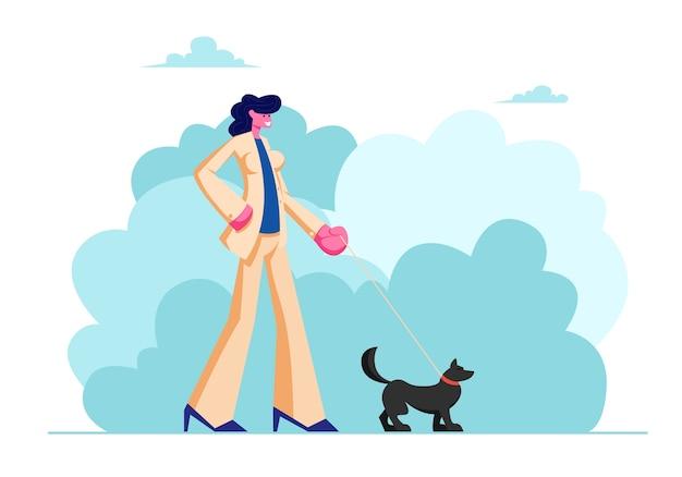 Weiblicher charakter-spaziergang mit hund im öffentlichen stadtpark.