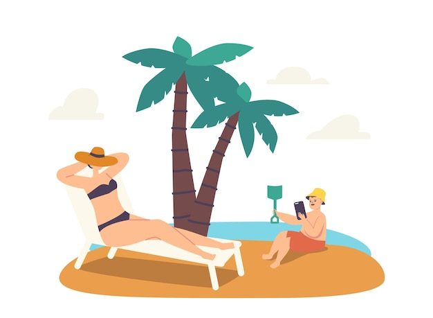 Weiblicher charakter verlorenes telefonkonzept. entspannte frau, die auf chaiselongue bräunt, während ihr kleines kind mit teurem smartphone spielt, das in sand am strand gräbt. cartoon-menschen-vektor-illustration