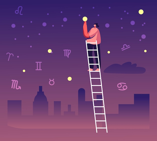 Weiblicher charakterstand auf der leiter nehmen sie stern vom himmel unter tierkreisaufstellungen. karikatur flache illustration