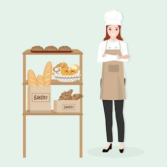 Weiblicher chef mit bäckereiillustration