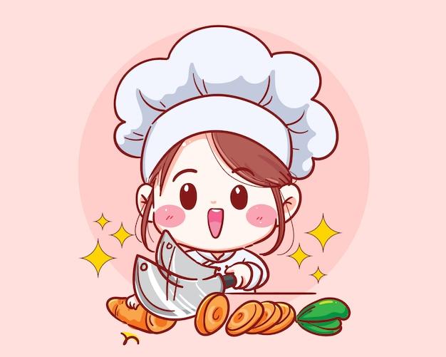 Weiblicher chef schnitt karottengemüse, das in küchenkarikatur kocht