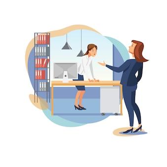 Weiblicher chef scolding office worker flat vector