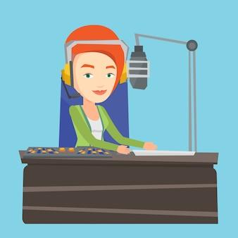 Weiblicher dj, der an der radioillustration arbeitet