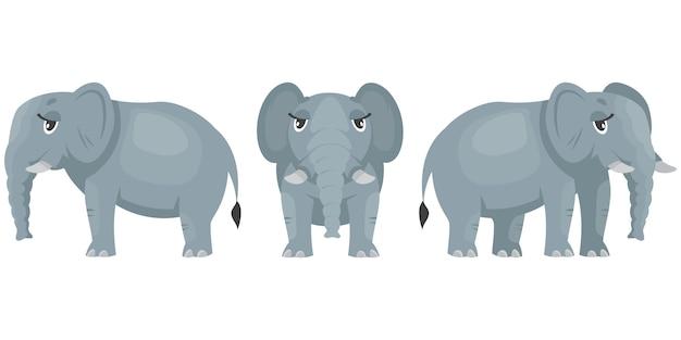 Weiblicher elefant in verschiedenen posen. afrikanisches tier im karikaturstil.