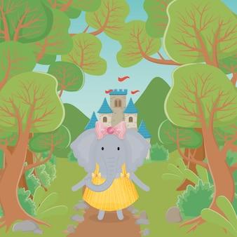 Weiblicher elefant mit rock- und blumenphantasiemärchen