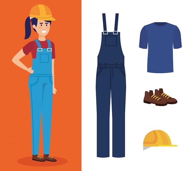 Weiblicher erbauer mit ausrüstung