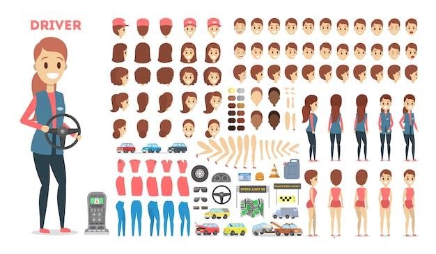 Weiblicher fahrerzeichensatz für die animation mit verschiedenen ansichten
