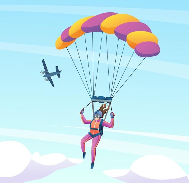 Weiblicher fallschirmspringer mit flugzeug in der himmelkarikaturillustration