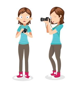 Weiblicher fotograf vektor