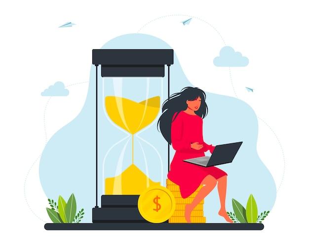 Weiblicher freiberufler, der an einem laptop arbeitet, der auf einem haufen goldmünzen in der nähe einer riesigen sanduhr sitzt. freiberufler geld verdienen, investitionen, wachstumskonzept. vektor-illustration.