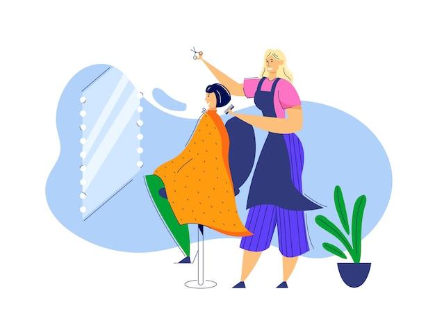 Weiblicher friseur, der haare des charakters der jungen frau schneidet.