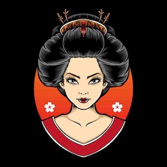 Weiblicher geisha-karikaturkopf
