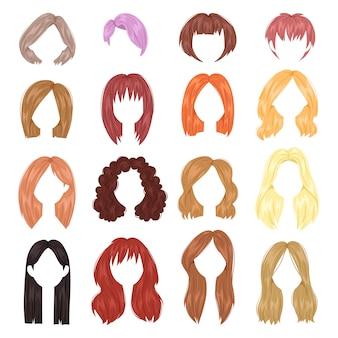Weiblicher haarschnitt der frisurfrau auf kurzem oder langem haar und perückenillustrationsfrisur oder haarschnitt mit färbung lokalisiert auf weißem hintergrund