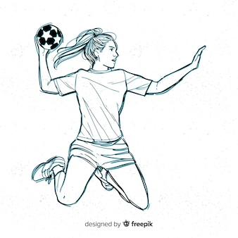 Weiblicher handballspieler