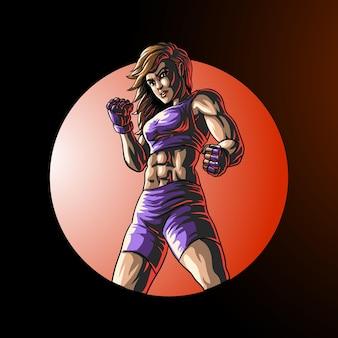 Weiblicher kämpferboxer im kreis lokalisiert auf schwarz
