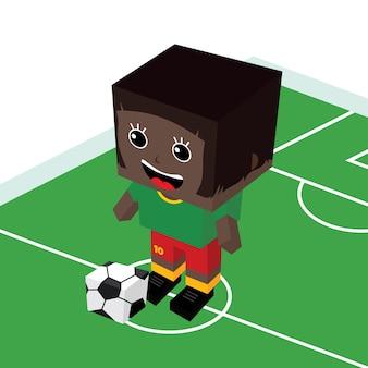 Weiblicher karikaturfußballspieler