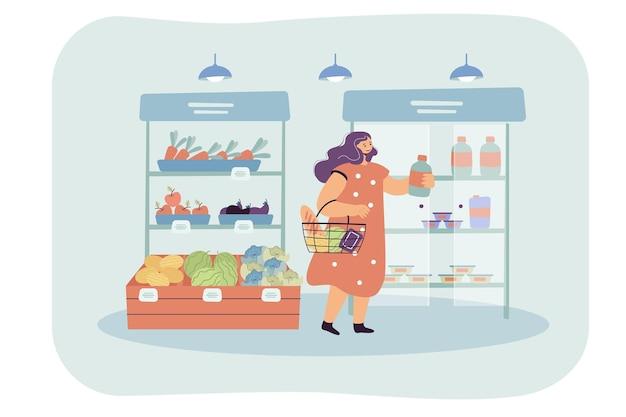 Weiblicher karikaturkunde, der waren im supermarkt wählt
