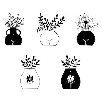 Weiblicher körper vase und blumen clipart. vektor-illustration.