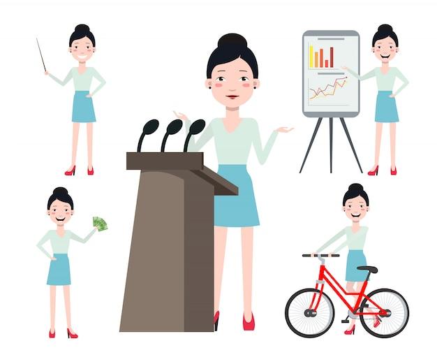 Weiblicher konferenzsprecher-zeichensatz mit verschiedenen haltungen