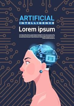 Weiblicher kopf mit modernem cyborg-gehirn über stromkreis-motherboard-hintergrund-vertikale-fahne