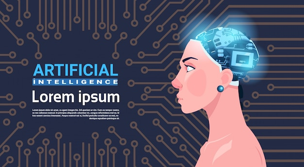Weiblicher kopf mit modernem cyborg-gehirn über stromkreis-motherboard-konzept der künstlichen intelligenz