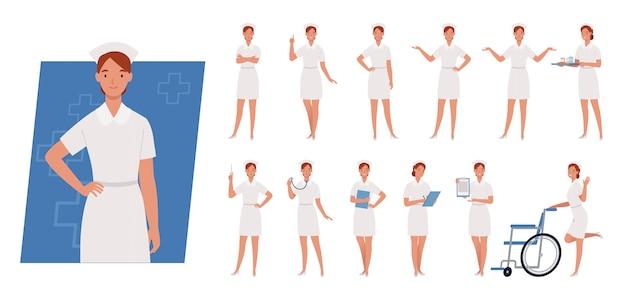 Weiblicher krankenschwester-zeichensatz. krankenschwester in weißer uniform. unterschiedliche posen und emotionen.
