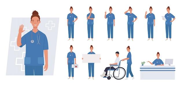 Weiblicher krankenschwester-zeichensatz. unterschiedliche posen und emotionen.