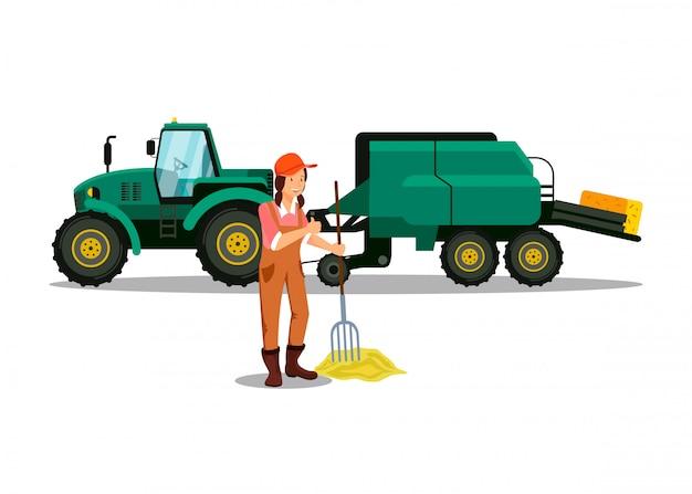 Weiblicher landwirt, der mit heugabel-charakter arbeitet
