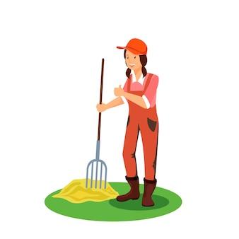 Weiblicher landwirt mit heugabel-vektor-illustration