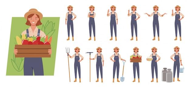 Weiblicher landwirt-zeichensatz. unterschiedliche posen und emotionen.