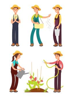 Weiblicher landwirtkarikatur-vektorsatz lokalisiert auf weiß