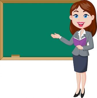 Weiblicher lehrer der karikatur, der nahe bei einer tafel steht