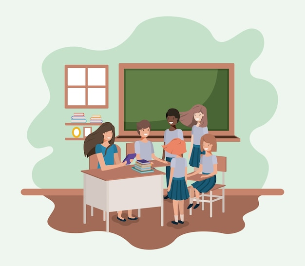 Weiblicher lehrer im klassenzimmer mit studenten vector illustrationsdesign