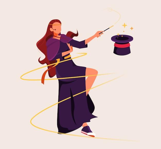 Weiblicher magier, der mit hut-illustration spielt