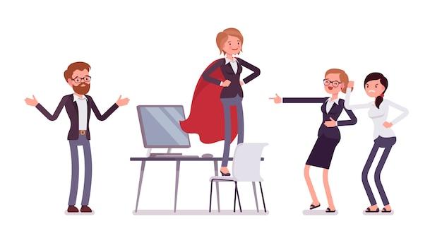 Weiblicher manager des büros, der vortäuscht, ein held zu sein
