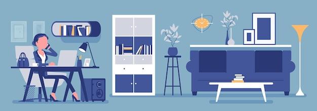 Weiblicher manager im büro, moderner geschäftsarbeitsplatzinnenraum. geschäftsfrau, die in raum, lichtdesign und möbeln für schönheits- und arbeitsplatzfunktionalität arbeitet. vektorillustration, gesichtslose charaktere