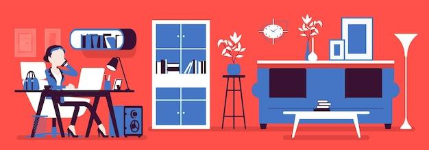 Weiblicher manager im büro, moderner geschäftsarbeitsplatzinnenraum. geschäftsfrau, die in raum, lichtdesign und möbeln für schönheits- und arbeitsplatzfunktionalität arbeitet.