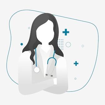 Weiblicher medizinischer held des gesundheitswesens charaktervektor