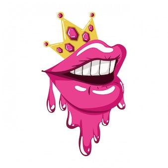 Weiblicher mund, der lokalisierte ikone tropft