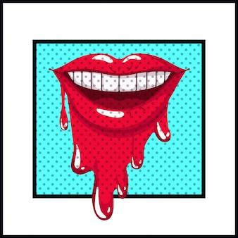 Weiblicher mund, der popkunstart tropft