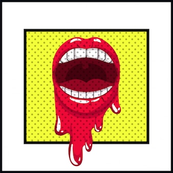 Weiblicher mund, der popkunstart tropft Premium Vektoren