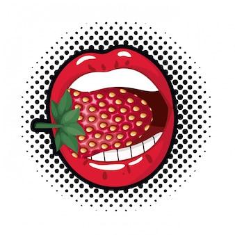 Weiblicher mund mit erdbeere lokalisierter ikone