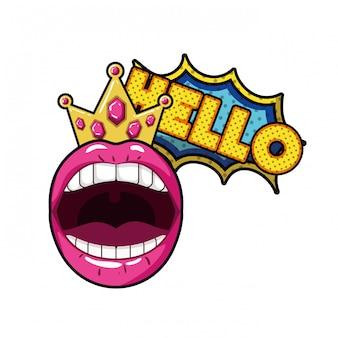 Weiblicher mund mit lokalisierter ikone der sprache blase