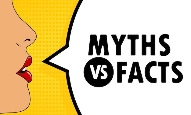 Weiblicher mund mit rotem lippenstift, der mythen gegen tatsachen-sprechblase schreit. kann für geschäft, marketing und werbung verwendet werden. vektor-eps 10. getrennt auf weißem hintergrund.