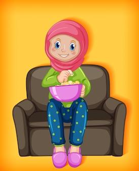 Weiblicher muslimischer cartoon auf charakter, der popcorn isst