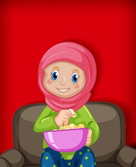 Weiblicher muslimischer karikatur auf charakterfarbgradientenhintergrund