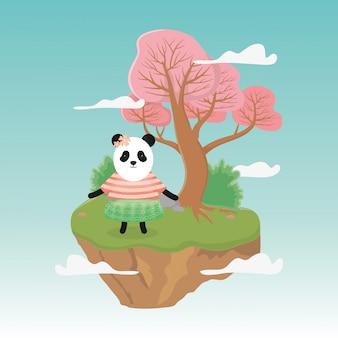 Weiblicher panda mit rock- und strickjackefantasiemärchen