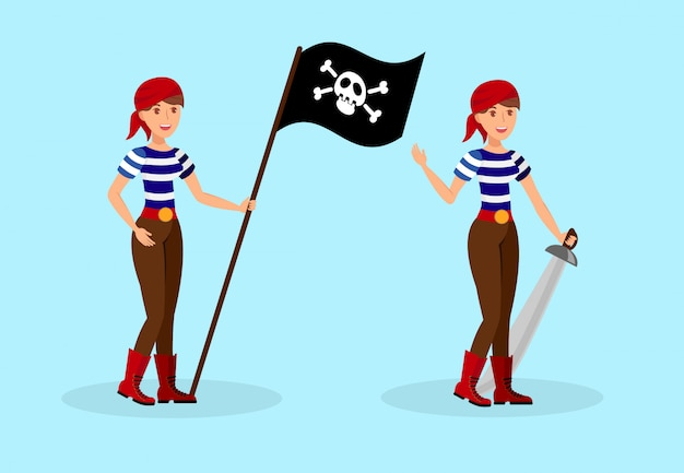 Weiblicher pirat in gestreiftem t-shirt zeichensatz
