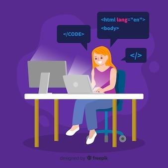 Weiblicher programmierer, der ihre arbeit im büro erledigt