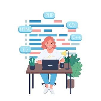 Weiblicher programmierer flache farbe detaillierter charakter. website-design und entwicklung. frauencodierung. arbeiten sie in der isolierten cartoonillustration der it-industrie für webgrafikdesign und -animation